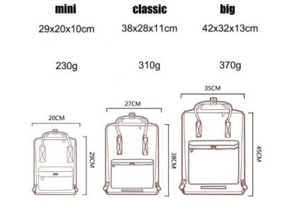 TAILLE SAC 416x293 - Kanken classique sac à dos pour étudiants differentes colories