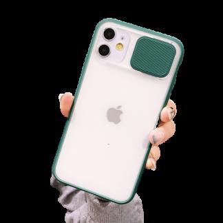 coque iphone avec cache a lentilles de camera verte
