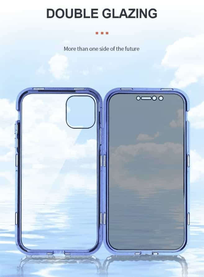coque iphone magnetique double glasse - Coque iphone magnétique anti vol de données