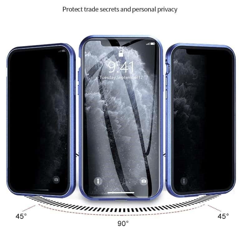 vision laterale coque iphone magnetique - Coque iphone magnétique anti vol de données